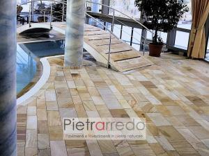 pavimenti in pietra quarzite brasiliana per piscoine spa centro benessere terme prezzo costi pietrarredo milano