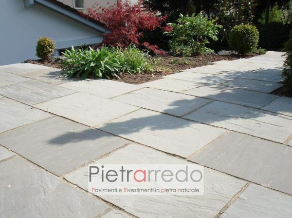 pavimento bello esterno pietra grigia arenaria indiana autumn grey costo prezzo kandla metro quadro pietrarredo