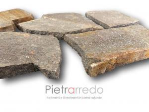 pavimento esterno duraturo in pietra porfido trentino italia prezzo costi rosso ruggine grigio pietrarredo milano