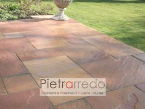 pavimento esterno in pietra prezzo colore rosso rosa arenaria modak pink pietrarredo milano