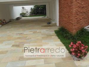 pavimento esterno in pietra quarzite brasiliana gialla selciati cave gontero prezzi costi pietrarredo milano