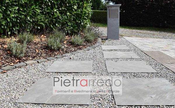 pavimento in arenaria inndiana grigio autumn grey 60cm x 60cm prezzo costi lati a spacco naturale pietrarredo