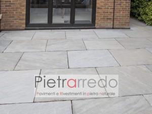 pavimento in pietra grigia per esterno selciato resistente autumn grey india arenaria prezzo kandla pietrarredo milano