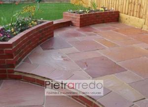 pavimento in pietra natuirale modak pink rosa rosso prezzo 90x60cm spessore calibrato prezzo costi mq pietrarredo