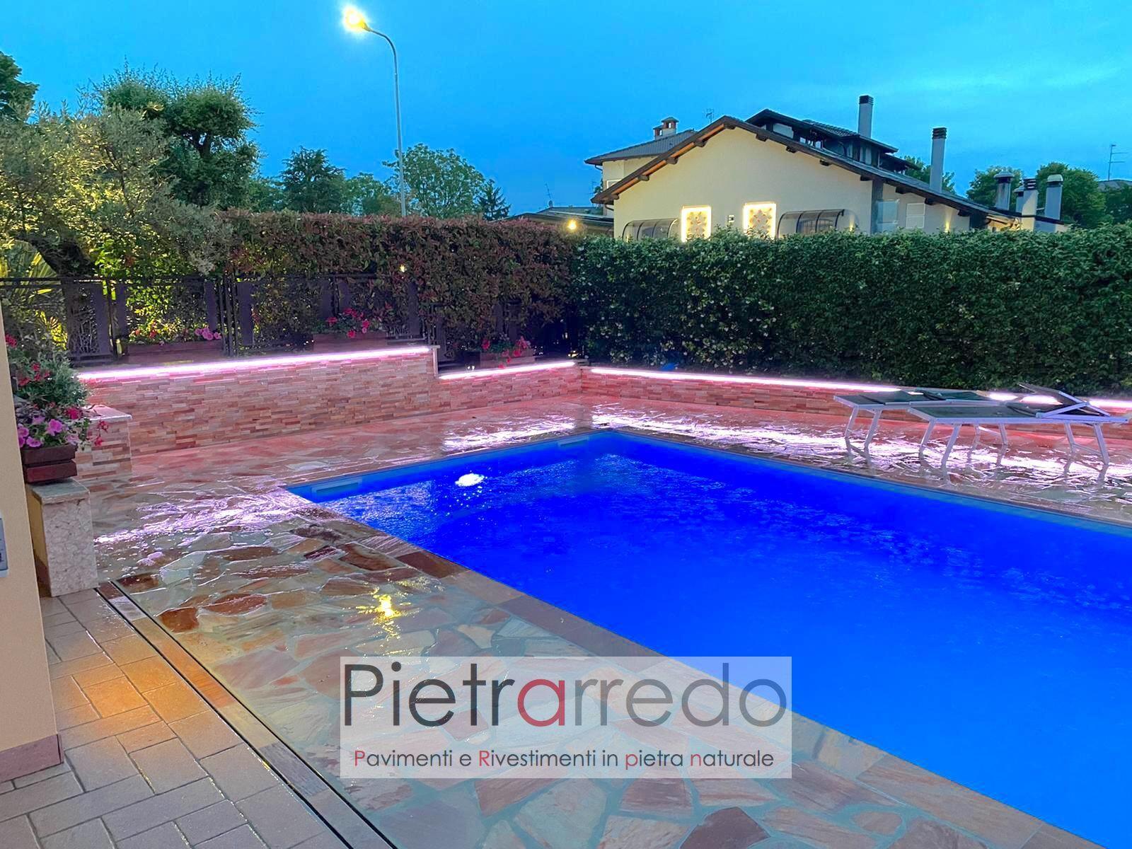 pavimento piscina bordi con toro in quarzite brasiliana rosa pietrarredo milano prezzi