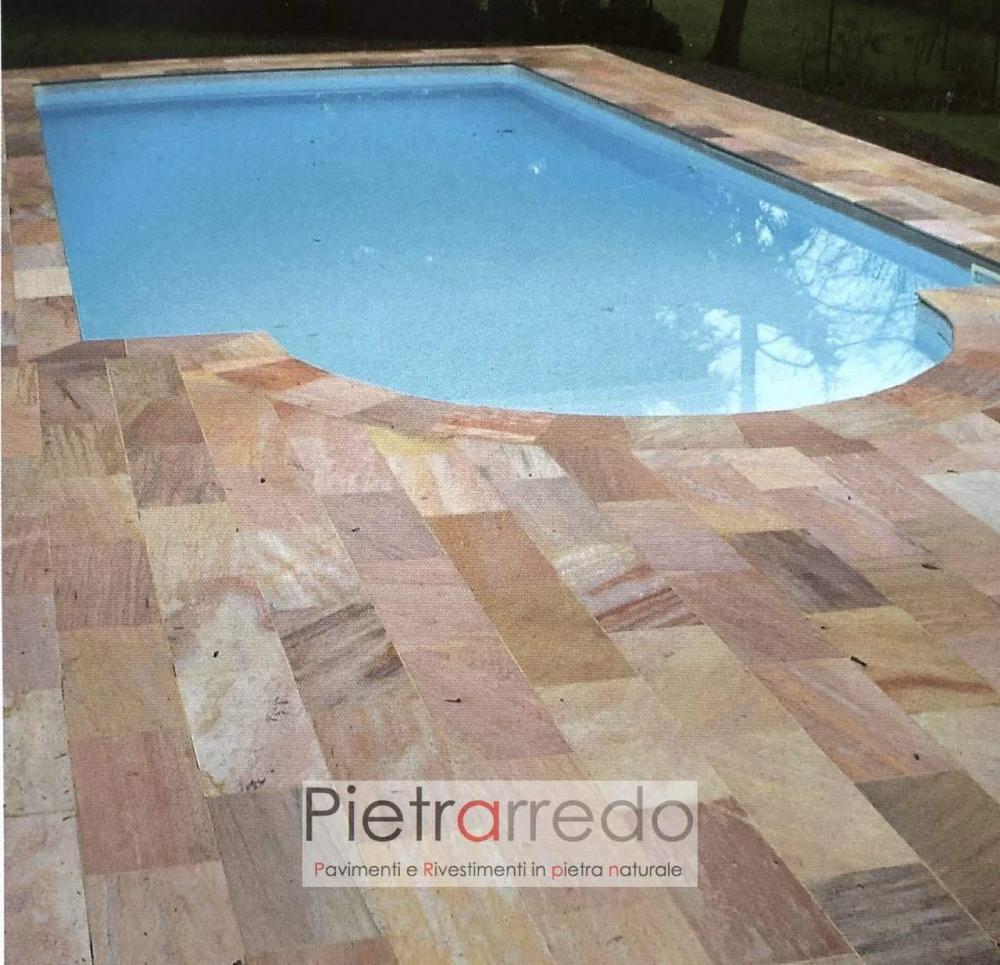 pavimento piscina quarzite brasiliana bordi tondi rosa beige gialla bello pavimento pietra prezzo pietrarredo
