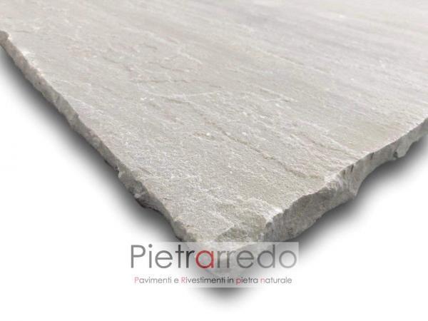 pavimento spessore calibrato in pietra sasso piano cava grigio kandla quadrato rettangolare prezzo per cortili marciapiede
