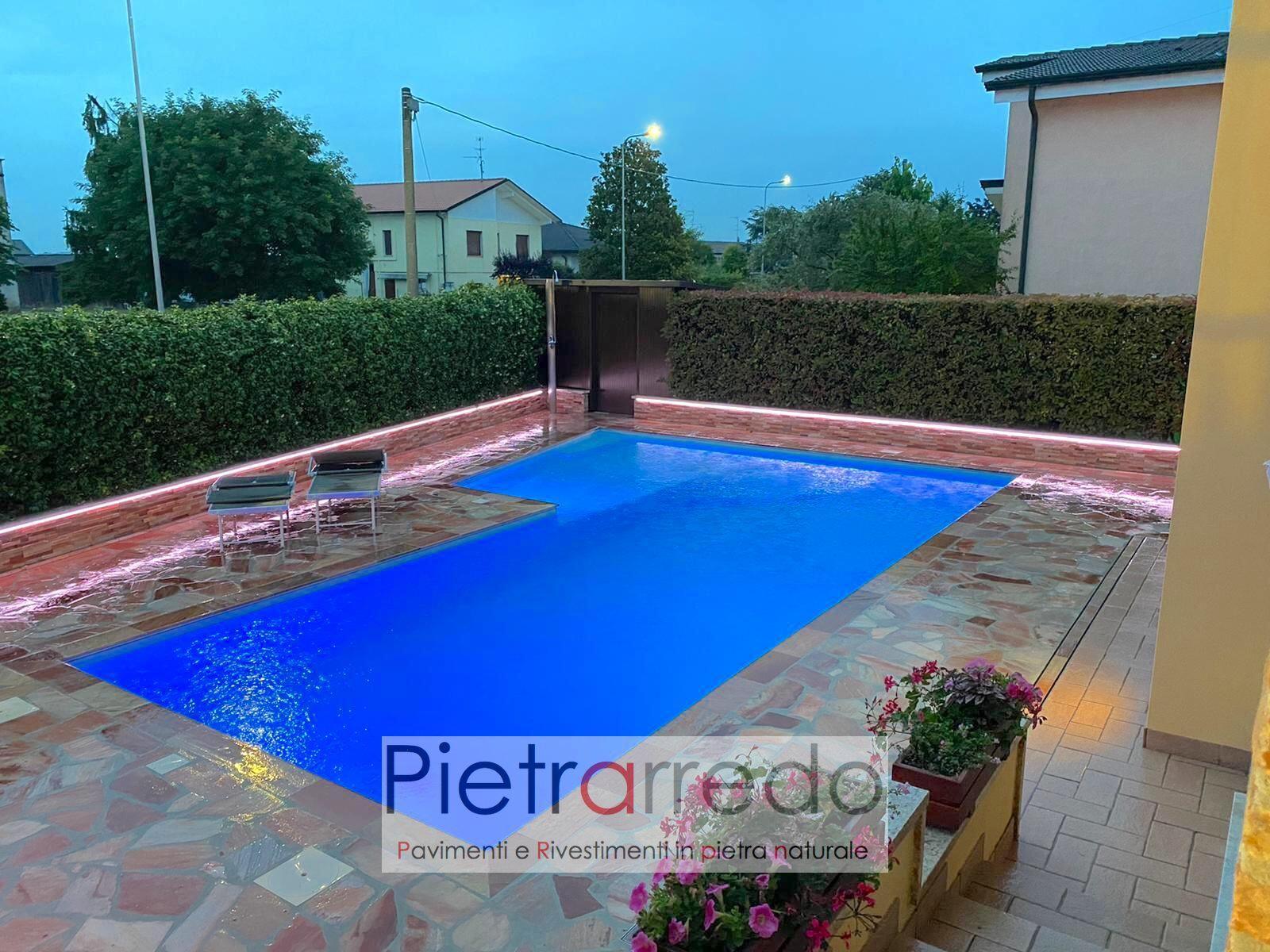 piscina pavimento in quarzite brasiliana rosa antiscivolo atermica pietrarredo milano prezzo bordo