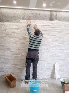 posa in opera ricostruita placche decorative in pietra come fare colla fughe livella stucco rivestimento in pietra quarzite bianca pietrarredo prezzo costi offerta milano