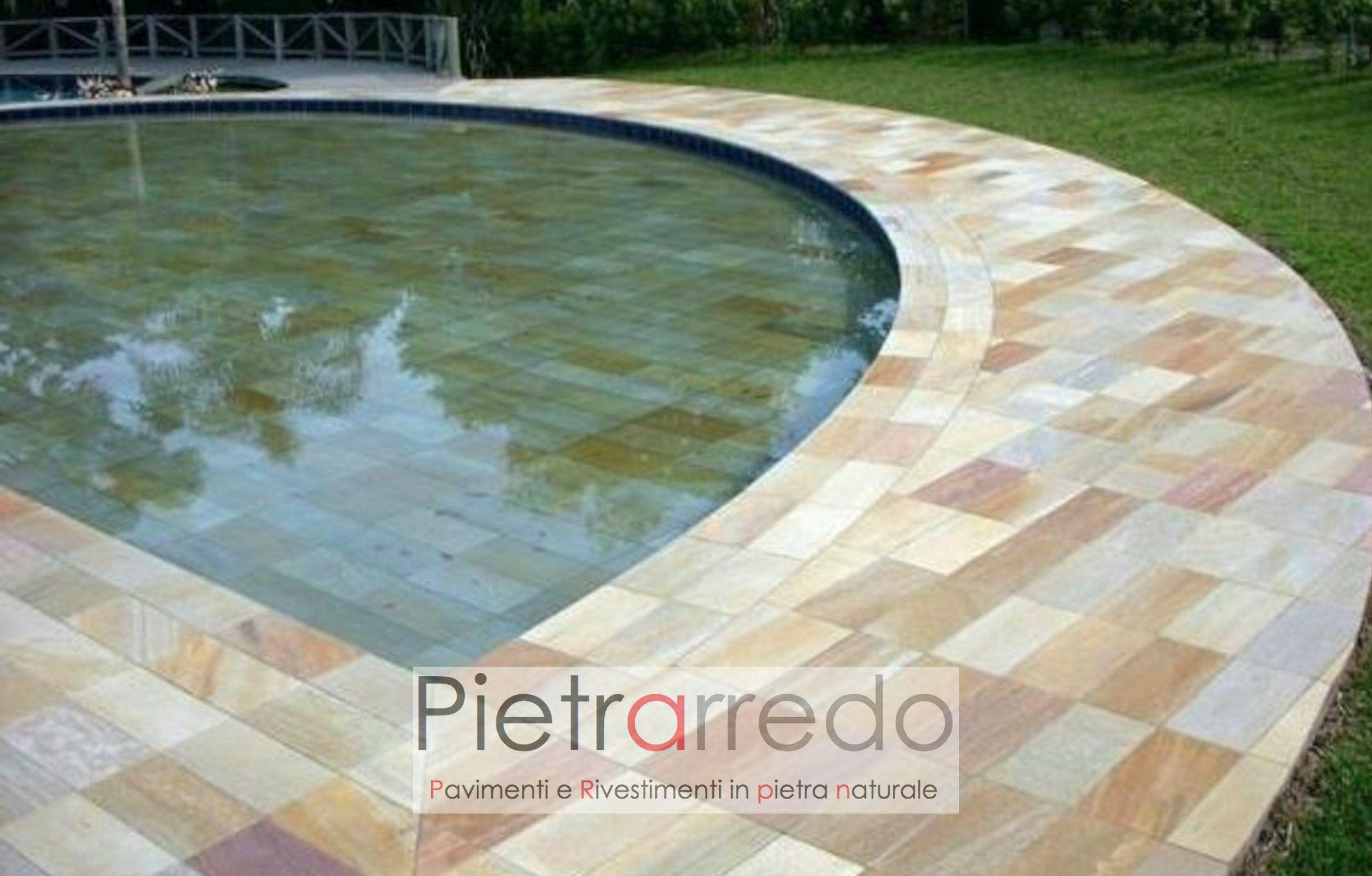 bordi piscina con toro antiscivolo prezzo costi rotondo piastrella pietra brasiliana pietrarredo