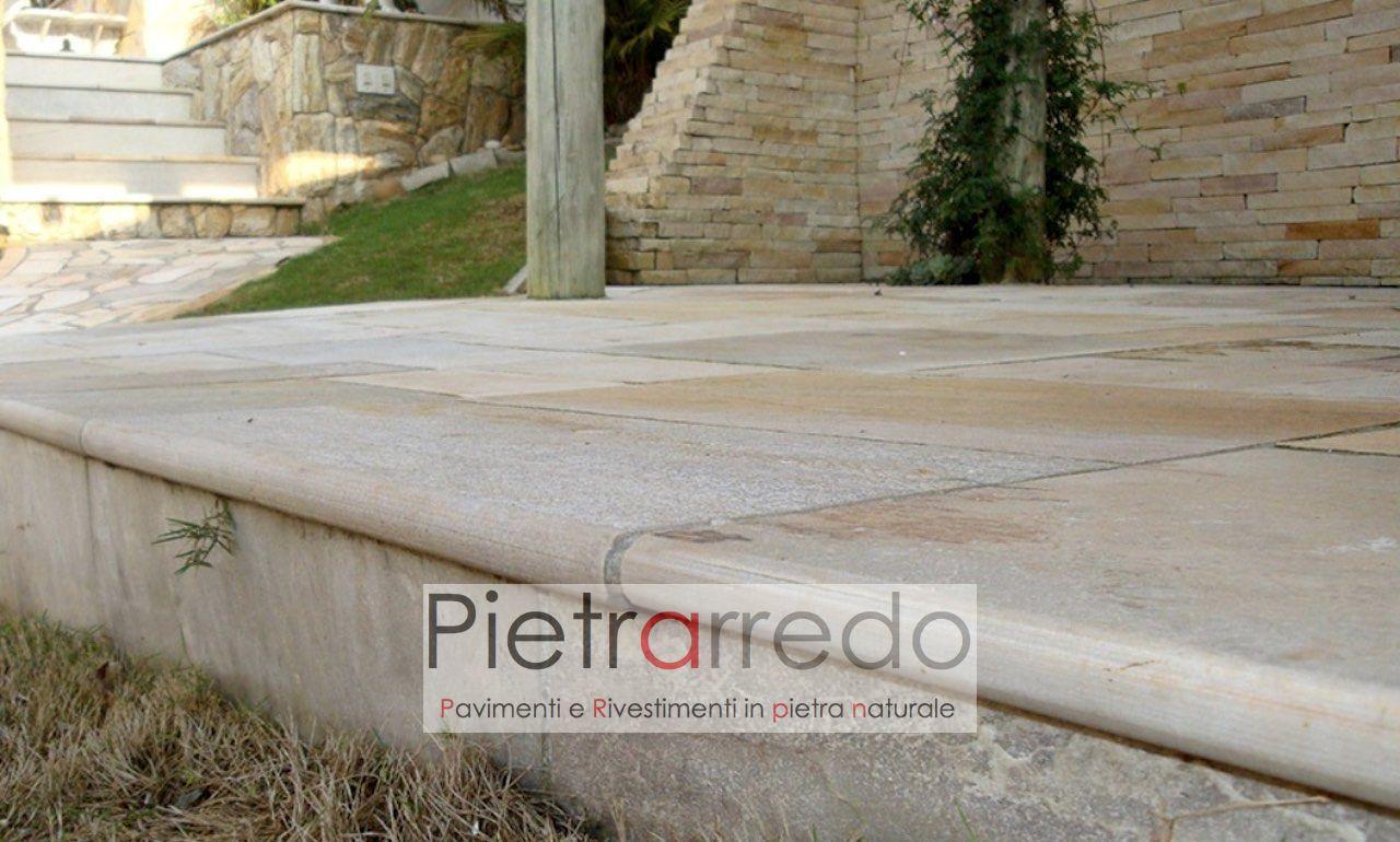 bordo lato pavimento con toro in quarzite brasiliana tondo toro cave gontero pietrarredo milano
