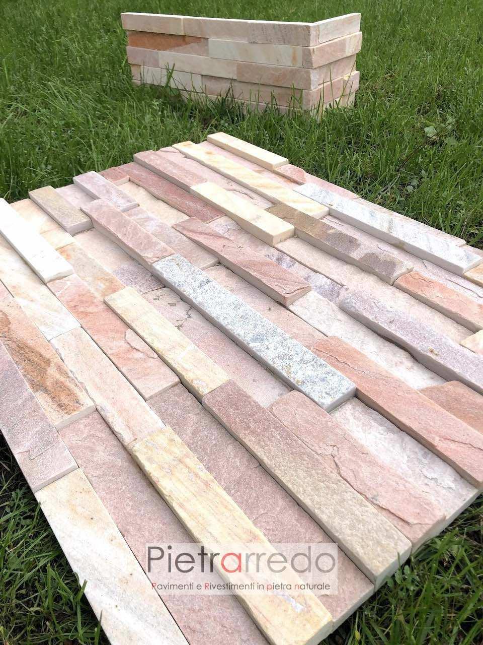 costo offerta cave gontero muretti rosa quarzite brasiliana cg013 listelli per rivestimento muri e facciate pietrarredo