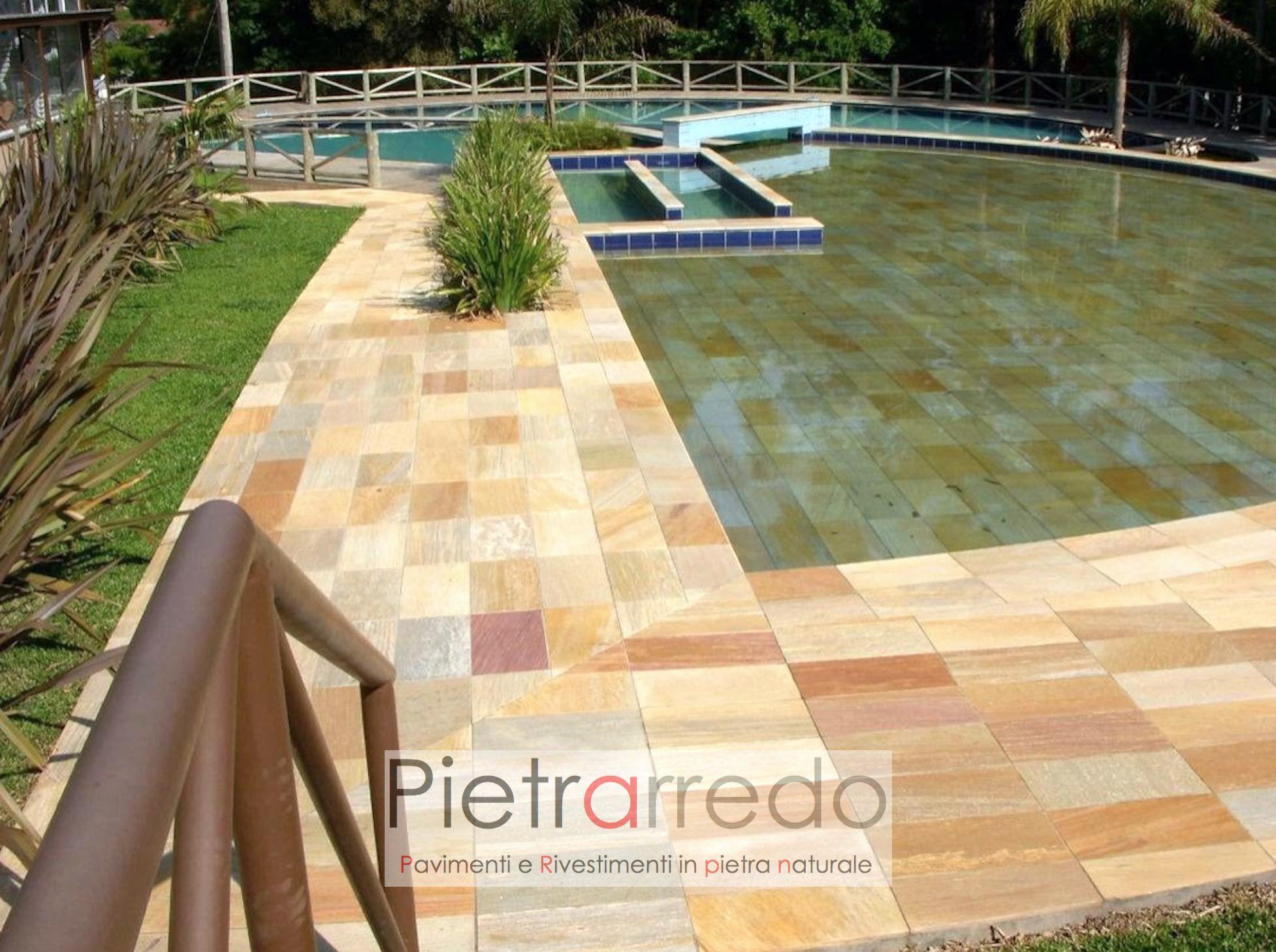 costo perimetro piscina gradino tondo pietra quarzite brasiliana antiscivolo pietrarredo gontero barge