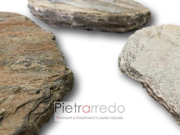 lastre in pietra naturale quarzite brasiliana stone garden offerta anticata camminamento viale giardino zen