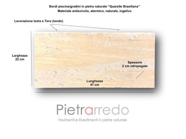 misure e costi bordi piscina atermica antiscivolo pavimento quarzite brasiliana cave gontero 22 x 47 pietrarredo