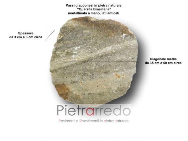 misure passo giapponese pietra camminamento costo quarzite brasiliana pietrarredo spessore