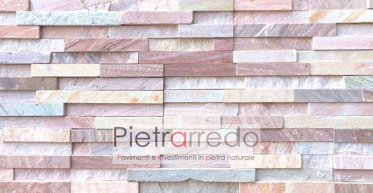 """Muretto In Pietra Interno rivestimento in pietra naturale """" muretti in quarzite rosa oriente""""  quarzite brasiliana rosa cod. cg013, (offerta da fallimento cave gontero,"""