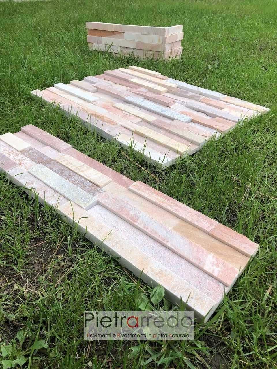 pietrarredo milano listelli muretti gontero quarzite rosa brasiliana prezzo offerta per rivestire pareti camini muri