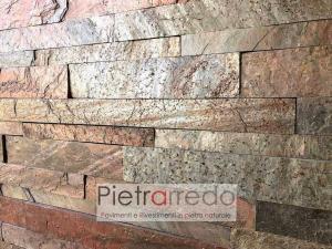 bellissimo rivestimento in pietra naturale a listelli singoli colore ramato rosso grigio metallizzato copper metal red stone cladding pietrarredo milano