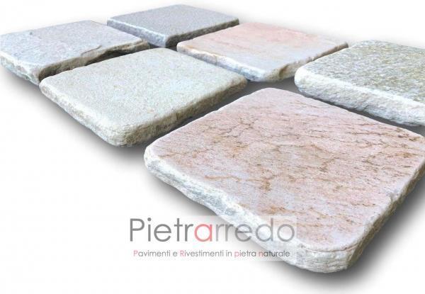 costi piastrelle in pietra per piscine saune lati tranciati quarzite brasiliana 20cm quadrate offerta pietrarredo