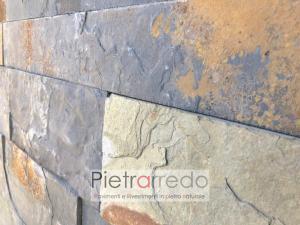 costo al metro quadro del rivestimento in pietra a listelli singoli pietrarredo ardesia multicolor autunno foglia autunno multilistello offerta