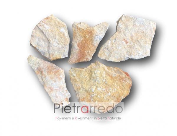 crosta in pietra di trani da rivestimento muro chianca facciata sasso gialla segata retrosegata prezzo pietrarredo milano
