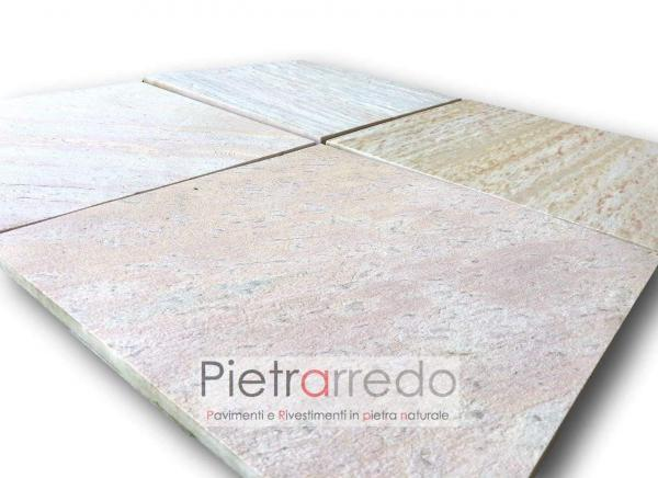 lastre piastrelle in pietra quarzite brasiliana 47cm x 47cm prezzo lati segati piscine saune pietrarredo