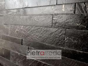 listelli in pietra singoli per rivestimento pietrarredo quarzite nera 60cm 30cm gontero lg070 lucidi fiammati spazzolati impermeabile prezzo