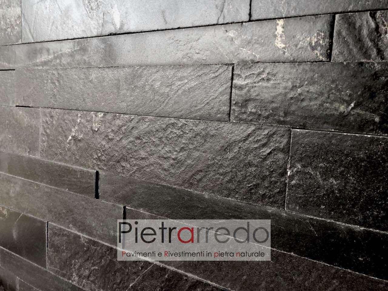 """Rivestimenti In Ardesia Nera rivestimento in pietra, listelli singoli in """"quarzite nera anticata"""" misure  3cm - 4,5cm- 6cm, lunghezze 30 cm e 60 cm"""
