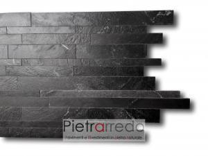 listelli muretti in pietra nera lucida anticata quarzite nera pietrarredo milano gontero lg070 prezzo costi muri facciate