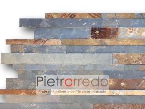 listelli strips da rivestimento in pietra naturale muretti ardesia multicolor picasso wide prezzo costi gontero cg002 pietrarredo milano muretto