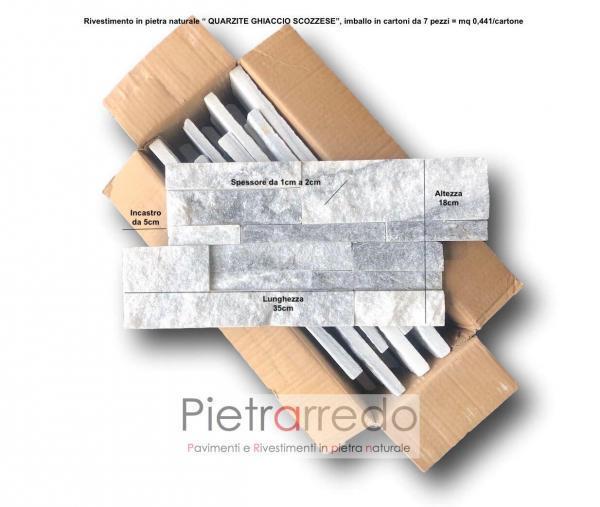 misure e formati placche decorative in pannelli pietra da rivestimento muri faccuate quarzite ghiaccio scozzese pietrarredo costo milano