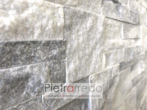 pannello decorativo in pietra naturale quarzite ghiaccio scozzese pietrarredo lombardia parabiago prezzo placca deco colore bianco grigio brillantinata