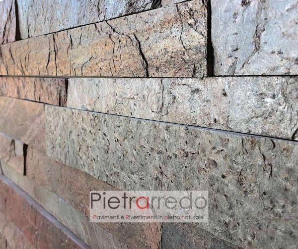 offerta rivestimento a liste singole in pietra naturale 3cm 4,5cm 6 cm lunghezza 60cm artesia elegante prezzo copper india brillante metallizzato