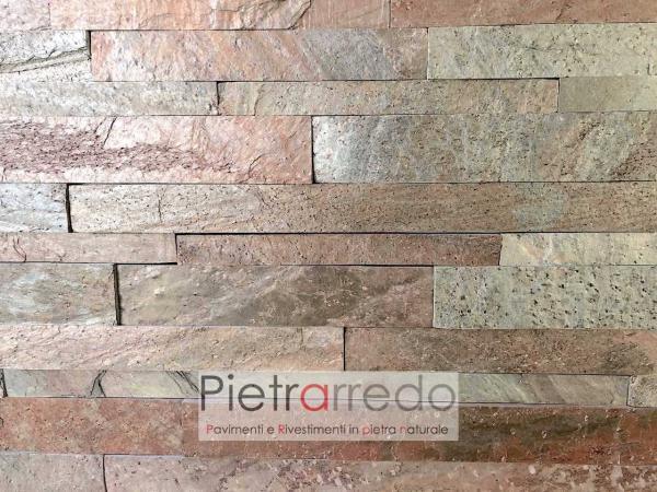offerta rivestimento in pietra copper liste singole in pietra da 60cm copper gontero metal red brillante metallizzato costi pietrarredo
