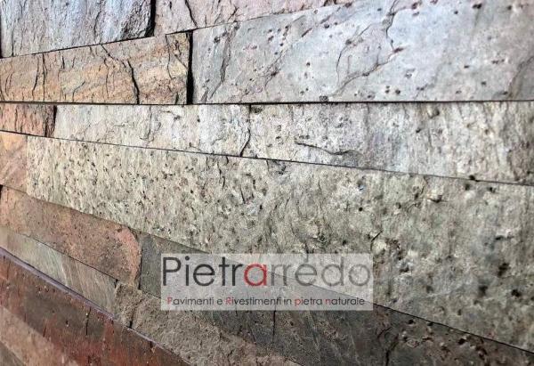 parete camera salòa elegante in pietra brillantinata metallizzata copper rame offerta pietrarredo milano liste singole strips