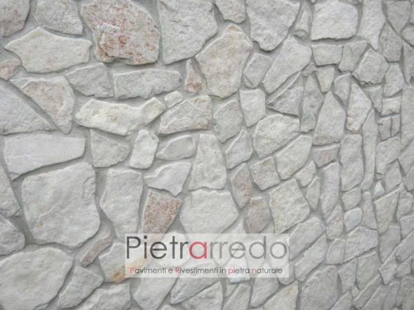 parete rivestite con pietra di trani anticata spazzolata prezzo mosaico palladiana opus incertum antiqua pietrarredo