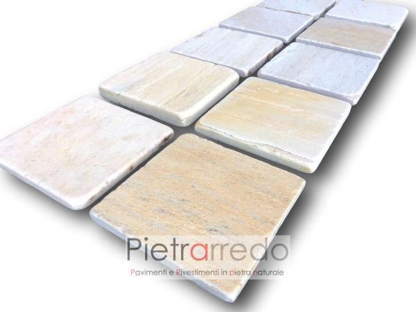 piastrelle quadrate piccole in pietra antiscivolo per pavimenti saune centro benessere eleganti prezzi milano spa pietrarredo