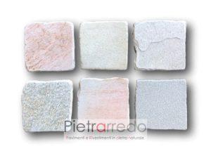 piastrelle tozzetti 20cm x 20 cm quadrate in pietra quarzite brasiliana per saune piscine centro benessere lati anticati vecchi prezzi