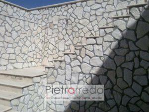 pietra da rivestimento pietrarredo prezzo naturale bianca anticata antiqua spazzolata basso spessore bella trani retrosegato