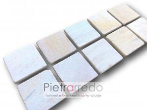 quadrati in pietra quarzite brasiliana piastrelle lati segati e anticati 17cm prezzo costi piscine terme spa offerta