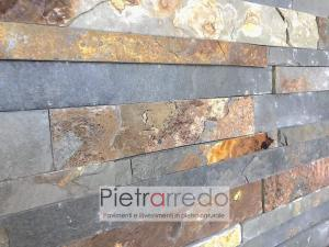 rivestimento in pietra naturale ardesia multicolor listelli singoli vari formati rivestimento pietrarredo milano prezzo