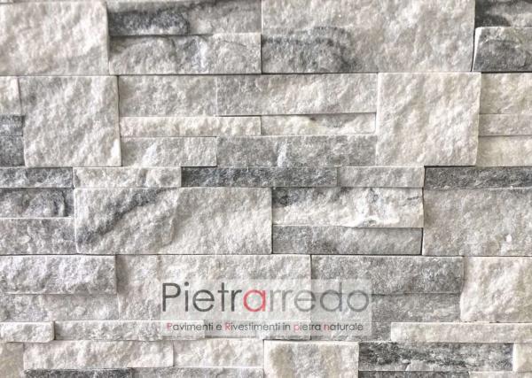 rivestimento in pietra naturale quarzite ghiaccio pietrearredo scozzese milano pareti e muri lombardia costo stone cladding white cloudy price