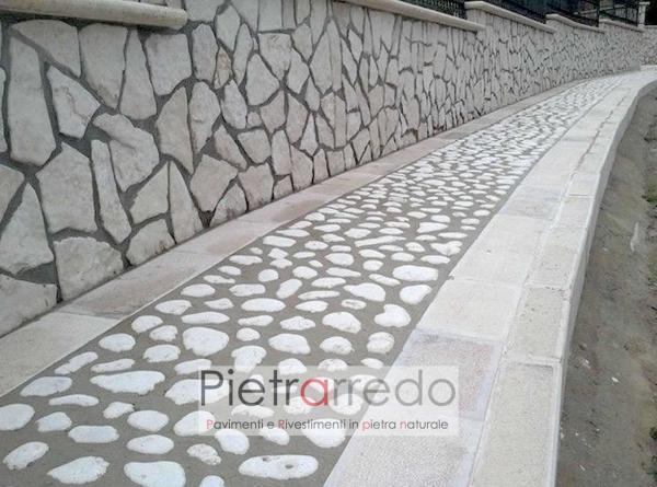 rivestimento muro di conta con palladiana opus incertum pietrarredo antiqua trani bianca spazzolata invecchiata costi