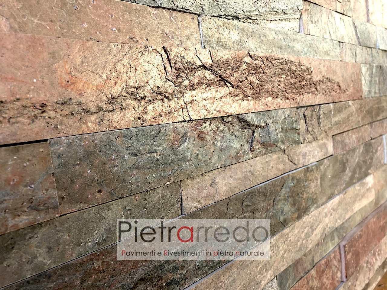 singol strips stone red copper price prezzo costi liste in pietra da rivestimento pietrarredo rosso red metal
