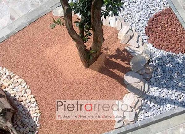 aiuola decorata con ghiaietto granulato rosso verona costi prezzo pietrarredo milano arredo giardino zen giapponese