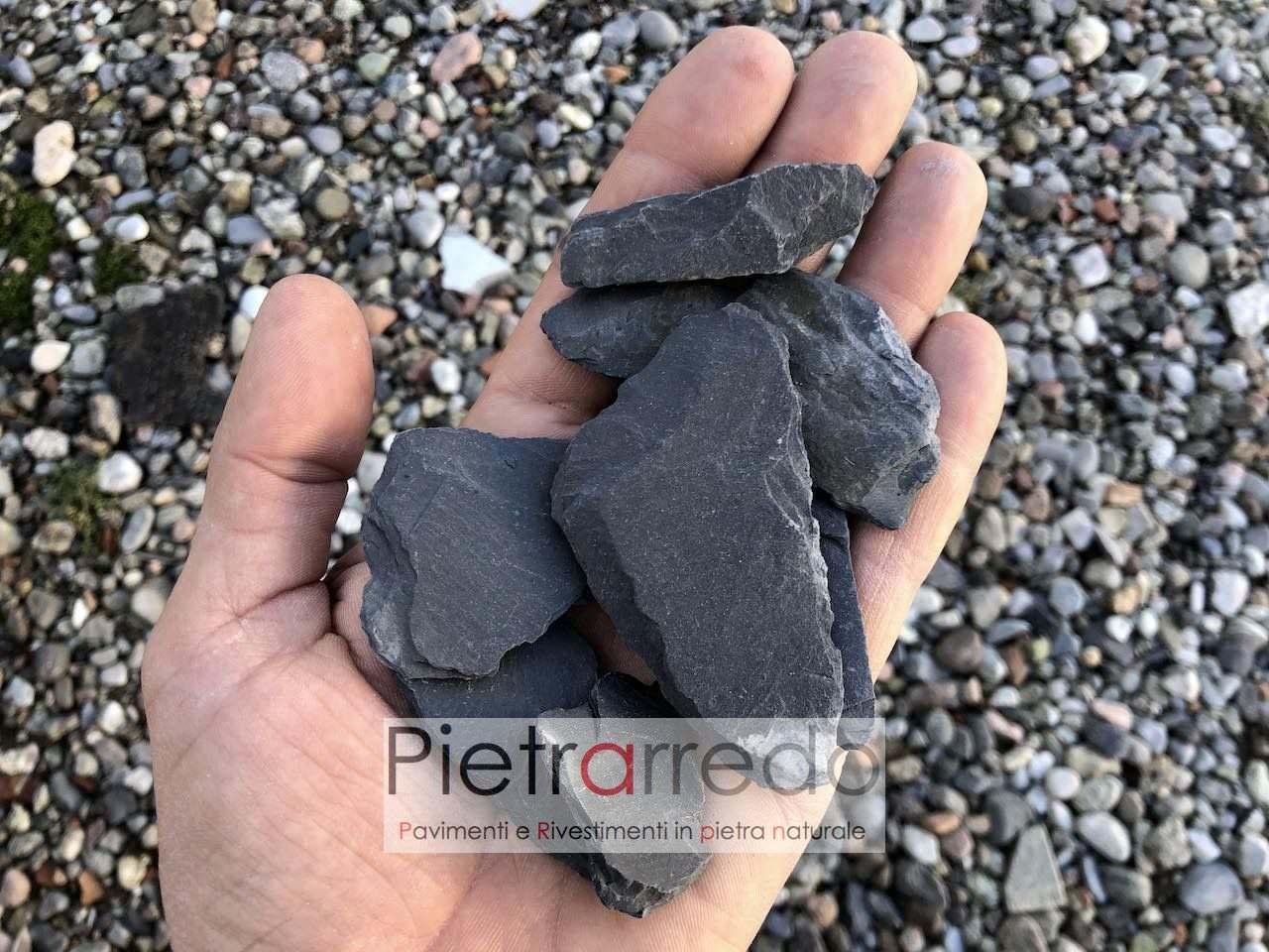 costo sacco ardesia nera scaglie nere assoluto gravel slate blak stone pietrarredo costi arredo giardino