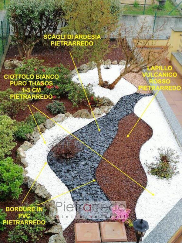 decorazione aiuole giardino con ciottoli colorati e bordure prezzi pietrarredo milano