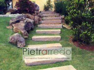 gradini per giardino gradoni in pietra grezza per passaggio con dislivello contenimento terra prato prezzo pietrarredo milano