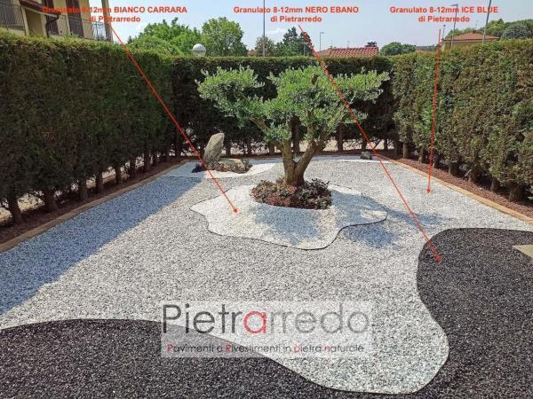 offerta granulato in pietra sassolini ghiaietto per giardini nero ebano bianco carrara prezzo costi stone garden gravels zandobbio